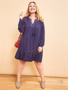 e7fd0ab0cfb62 Women s Plus Size Clothes  Featured Looks Boho Tie-Neck Swing Dress from  Old Navy