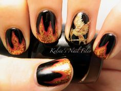 Hunger Games Girl on Fire nails