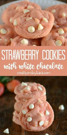Chocolate Strawberry Cookies are soft and tasty, and perfect for Valentine. - White Chocolate Strawberry Cookies are soft and tasty, and perfect for Valentine s Day. Pudding mix -White Chocolate Strawberry Cookies are soft and tasty, and perfect for . Fun Baking Recipes, Easy Cookie Recipes, Sweet Recipes, Soft Cookie Recipe, Mini Dessert Recipes, Cookie Recipes From Scratch, Cake Recipes, Easy Desserts, Delicious Desserts