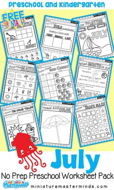 July No Prep Preschool and Kindergarten Pack 48 Pages of educational no prep worksheets with Summer and the beach as a theme. Practice writing skills, and many more activities while learning about … Tot School, Summer School, Writing Practice, Writing Skills, Educational Activities, Preschool Activities, Preschool Schedule, Kindergarten Prep, Kindergarten Workbooks