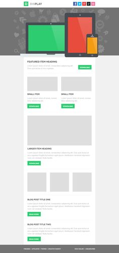 Display Email PSD Template, #Email, #Flat, #Free, #Layout, #Newsletter, #PSD, #Resource, #Template