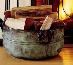 Metal basket of wood.