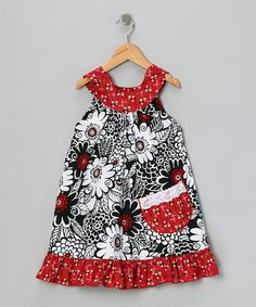 Take a look at this Red Swirl Flower Yoke Dress - Toddler & Girls by Ruby and Rosie on #zulily today!