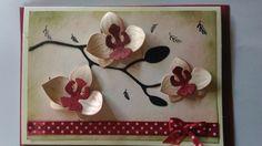 Die orchidée mariage design. Encre stampin up pétale de primevères, fleur de cerisier, feuillage sauvage