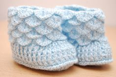 Light Blue Crochet Baby Booties Baby Shower by LivingWatersShop
