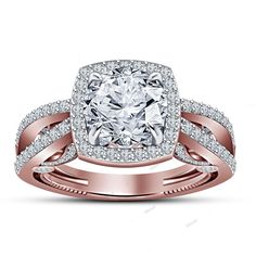 Round Diamond 925 Silver 14k Rose Gold Finish Women's Engagement Ring Claw Style…