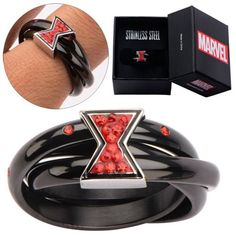 Show off your support of Marvel's Avengers leading lady Black Widow and wear the Avengers Black Widow Symbol Red Bling Gems Ring with pride. This beautiful ring is made of stainless steel with red gems. Ages 13 and up. Black Widow Symbol, Geeks, Marvel Fashion, Punk Fashion, Lolita Fashion, Gothic Wedding Rings, Marvel Clothes, Black Widow Marvel, Geek Outfit