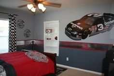 Nascar Race Room- like the drapes and diamond plating on the wall.