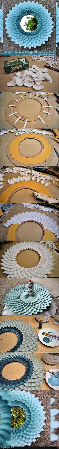 DIY plastic spoon mirror...for those on a budget, or for Children to decorate their rooms with things they make themselves. Personally...I think it's cool and it looks like flower petals or seashells. Love it.