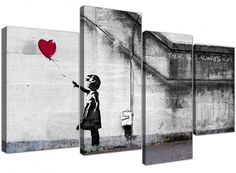 Large Banksy Wall Art Canvas Print - Red Balloon Girl - Framed Pictures Set of 4 Panels - / Wide - Ready to Hang Arte Banksy, Banksy Wall Art, Banksy Graffiti, Bansky, Abstract Canvas, Canvas Wall Art, Wall Art Prints, Poster Prints, Wall Paintings