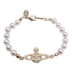Vivienne Westwood Gold plated pearl bas relief bracelet