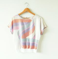 Vintage Pastel Abstract Pattern Blouse / Shimmery 70s Patterned Blouse / Vintage Striped Top by thehappyforest on Etsy