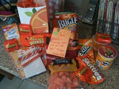 Orange You Glad We Love You - SO CUTE! Love this care package! This will be great for when Annabelle is in college :)
