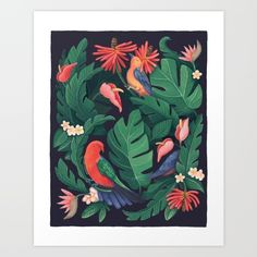 Buy Midnight Bird Jungle Art Print by Talia Gavish. Worldwide shipping available at Society6.com. Just one of millions of high quality products available.