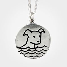 Water dog sterling silver charm necklace