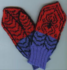 Crochet Baby Mittens Free Knitting Pattern for Spiderman Mittens - These We Call Him Spidey Mittens by Kathleen Taylor. Pictured project by LivM - Knitting For Kids, Easy Knitting, Knitting Patterns Free, Knitting Projects, Crochet Projects, Crochet Patterns, Free Pattern, Knitted Mittens Pattern, Knit Mittens