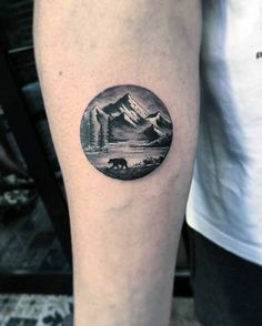 Bear By Mountains Mens Small Detailed Nature Inner Forearm Tattoo Small Nature Tattoo, Small Wrist Tattoos, Lower Leg Tattoos, Landscape Tattoo, Bear Tattoos, Tatoos, Round Tattoo, River Tattoo, Meaningful Tattoos For Men