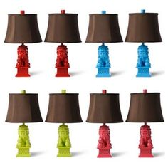 Barbara Cosgrove's Foo Dog Mini Table Lamps are smaller in size but brighter in color. Red Pepper, Caribbean Blue, Key Lime, and Watermelon make up this co Transitional Table Lamps, Dog Table, Modern Furniture Stores, Foo Dog, Table Lamp Sets, Studio, Affordable Fashion, Decoration, Glamour