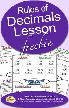 Rules of Decimals Lesson Freebie with Guided Notes Teaching 5th Grade, 5th Grade Math, Teaching Reading, Fun Math, Math Games, Math Activities, Math Skills, Math Lessons, Homeschool Math