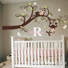 Baby Girl Nursery Decor : Branch Tree, Girl Monkeys and Custom Name - Nursery Wall Decal. $112.00, via Etsy.