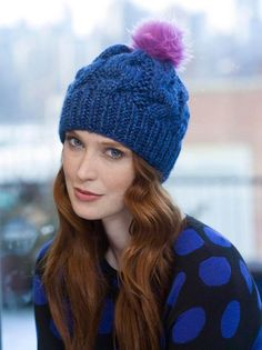 Chunky Cabled Hat in Lion Brand Heartland Thick and Quick - Digital Version | Knitting Patterns | Deramores