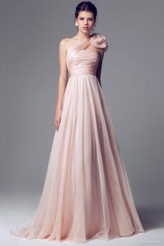 blumarine 2014 pink wedding dress one shoulder 6588 :i like the fabric of the skirt, definitely no flower