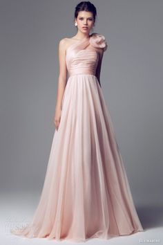 blumarine 2014 pink wedding dress one shoulder 6588 :i like the fabric of the skirt, definitely no flower