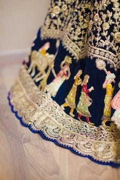 Motifs of baraatis on royal blue velvet lehenga embroidery | WedMeGood| #wedmegood #indianweddings #leehnga #bridallehenga #velvet #royalblue #motifs #baraatis #baraat