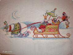 "Картина, панно, рисунок Вышивка крестом: ""Белый медведь и сани"" от Dimensions. Канва, Нитки Новый год. Фото 1"