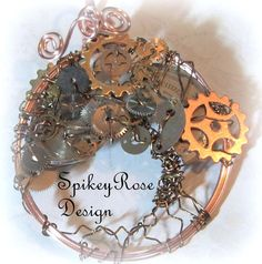 Tree of Life Wirework Pendant Clockwork by GlendasJewelleryOz