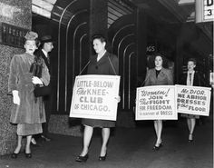 Women protesting Dior's long skirts. Chicago, Illinois – September 22, 1947