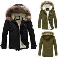 New Men s Faux Fur Long Winter Trench Coat Jacket Hooded Parka Overcoat