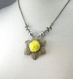 Yellow and Gray Blooming Flower Wedding Necklace by cymbaline84, $15.50