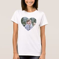 Personalized Heart-Shaped Photo Women's T-Shirt - Custom Gift Ideas - Discount with code on website