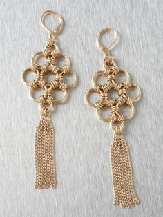 Chain Maille Tassel Earring-Lovely use of XL rings with the Japanese design