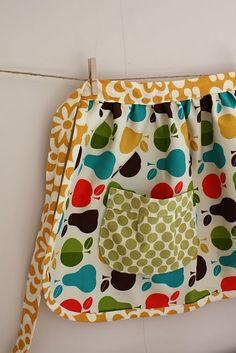 Apron - love that pear fabric w/ the polka dots