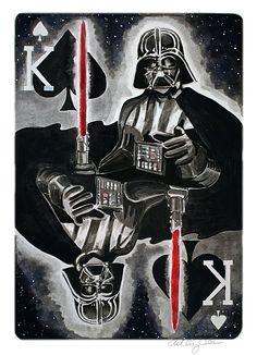 king of spades, darth vader star wars card ashley villers, winterthirteen {watercolor & ink}