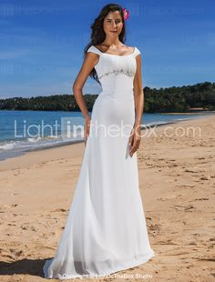 Wedding Dress Sheath Column Sweep Brush Train Chiffon Scoop With Beading - USD $ 119.99