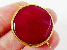 Lipstick Red Jade Round Connector Pendant  Rustic by LylaSupplies, $7.50