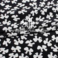 "Ribbon Fabric. Black and White Silk. Bow Fabric. Fabric. Pure Silk Fabric. 55"". 16mumi. SSB100342 by fabricAsians on Etsy"