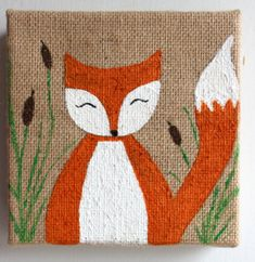 fox painting for child's room on 6x6 burlap by AllisonStrider