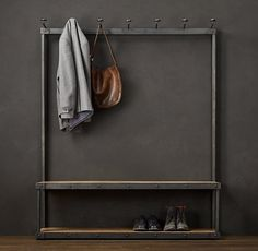 Contemporary Steel and Wood Coat Rack Bench