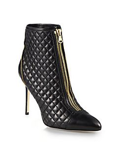 Brian Atwood - Astrid Quilted Leather Ankle Boots