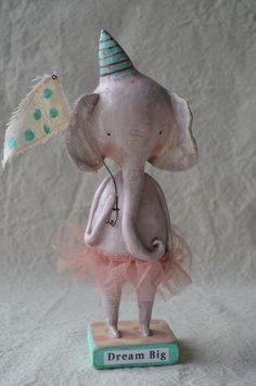 Folk Art Paperclay Pink Elephant with tutu by apinchofprim on Etsy