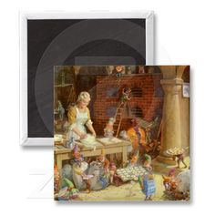 Mrs. Claus Bakes Cookies with Santa's Elves! Magnets from Zazzle.com