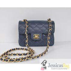 Chanel A01115 mini Caviar Flap Bag Blue Cold
