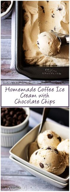 Homemade coffee ice cream with chocolate chips is the simple but decadent dessert you have been searching for all Summer long. #icecream #chocolatechips #coffee via @berlyskitchen