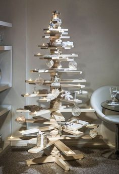 """Contemporary Christmas Trees 19 I love how gifts are also placed on """"branches"""""""