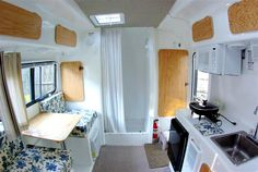Inside of an Egg Camper. All fiberglass