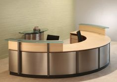 Semi- circle Reception Desks and modern reception furniture with circular Glass counters.